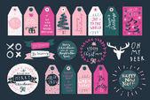 Set of Merry Christmas gift tags