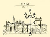 Gondola pier in Venice ItalyBoat service station and Lido island Travel sketch vector illustration