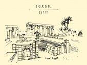 Luxor temple Luxor Egypt Hand drawn postcard