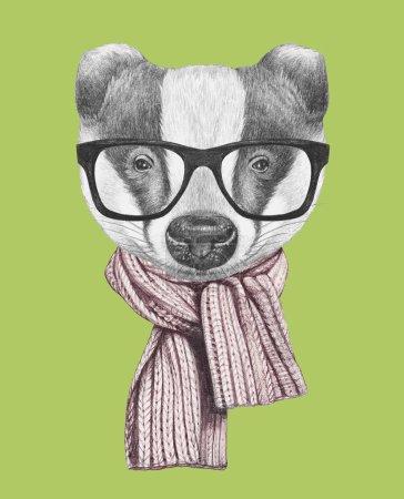 Photo pour Portrait de Blaireau avec écharpe et lunettes sur fond vert, illustration dessinée à la main . - image libre de droit