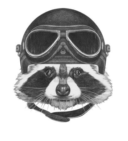 Raccoon with Vintage Helmet.