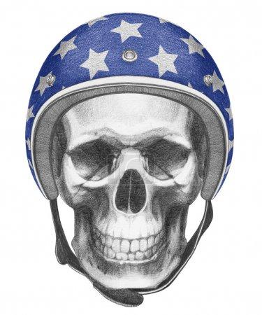 Portrait of Skull with Helmet.