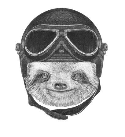 Sloth with Vintage Helmet.