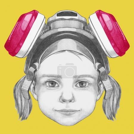 Photo pour Portrait de petite fille en masque à gaz. Illustration dessinée à la main . - image libre de droit