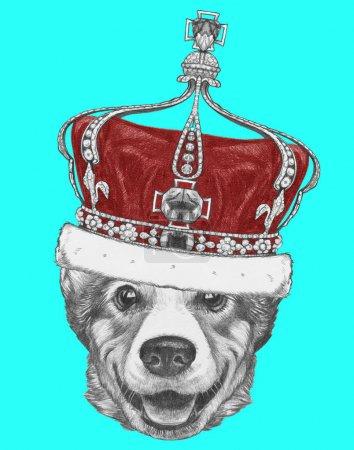 Photo pour Joli portrait croquis de chien gallois Corgi en couronne sur bleu - image libre de droit