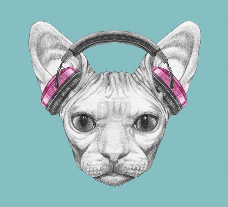 Nice sketch portrait of Sphynx cat in headphones on blue