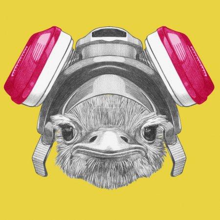 Photo pour Drôle de portrait croquis de l'autruche dans le respirateur sur jaune - image libre de droit