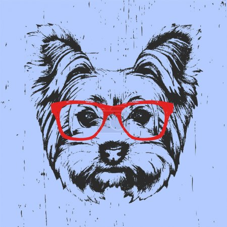 portrait of Yorkshire Terrier Dog with glasses