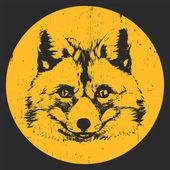 Portrait of Fox Hand drawn illustration Vector