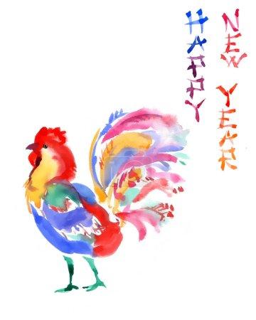 Photo pour Carte de vœux lumineuse dessinée à la main à l'aquarelle avec le coq, style chinois. Nouvel an invintation, écriture hiéroglyphique - image libre de droit