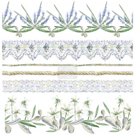 Watercolor clipart collection of seamless borders. Flower compositions, rope, twine, lace Isolated