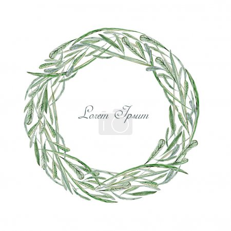 Photo for Watercolor hand drawn frame. Wreath. Card. Flowers, herbs and leaves. Only green leaves and grass. Isolated - Royalty Free Image