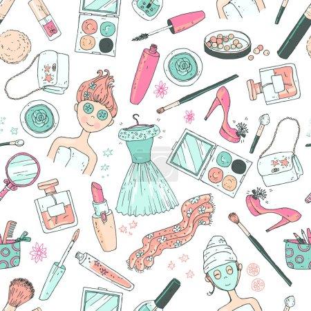 Illustration pour Temps de motif sans couture vectoriel dessiné à la main pour une date. Outils et produits cosmétiques, parfum, rouge à lèvres, poudre, fard à joues, ombre à paupières, brillant à lèvres, chaussures de vernis à ongles, robe, fille avec le masque de soins du visage . - image libre de droit