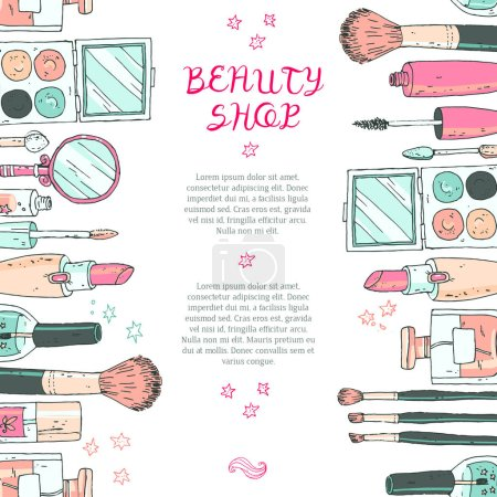 Makeup cosmetics tools background