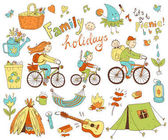 set of cute doodle family and holidays