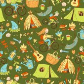 seamless pattern with cute doodle family