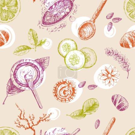 organic cosmetics seamless pattern