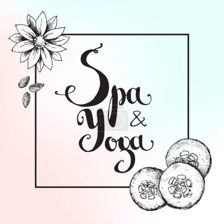 background with hand lettering. Spa and yoga.