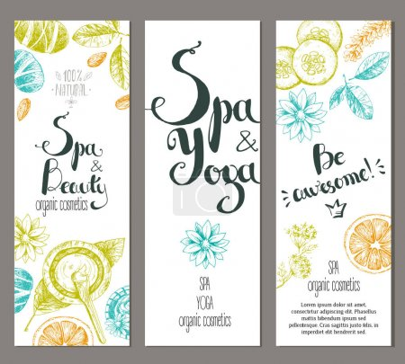 Illustration for Vector vertical ready design templates for brochures, booklets, posters, banners for organic cosmetic shop,spa center or relax center. Sketchy engraving style, pastel natural colors. - Royalty Free Image