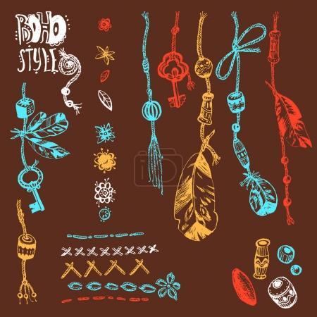 boho style elements set