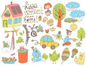 doodles collection of ecology and family