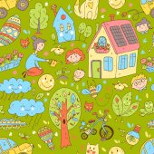 Vector doodle cute seamless pattern of ecology and family Nature alternative energy sources resource saving smart house Color hand drawn illustration cartoon style