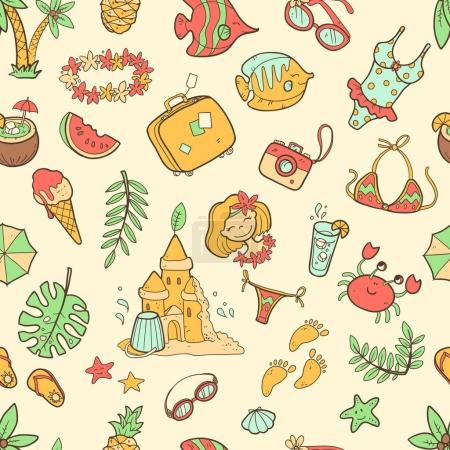 doodle seamless summer pattern