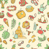 doodle seamless summer pattern
