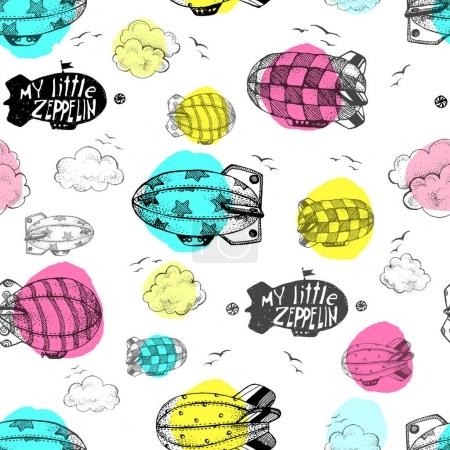 seamless pattern with cute little airships