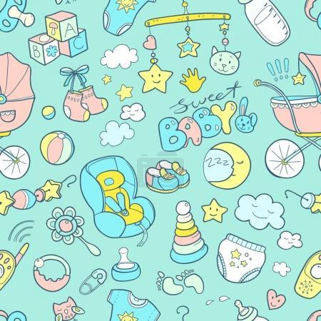 Illustration pour Nouveau-né thème mignon doodle motif sans couture. Soins pour bébés, alimentation, vêtements, jouets, soins de santé, sécurité, accessoires. Dessins vectoriels isolés - image libre de droit