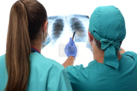Radiologists checking x-ray of lungs, isolated on white background