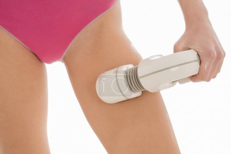 Body treatment. Woman getting rf lifting procedure to her body