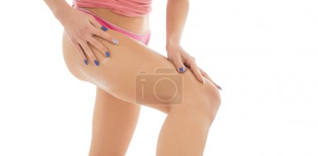 Photo for Female applying cosmetic cream from cellulite on the buttocks and legs. isolated on white background - Royalty Free Image