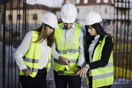 Photo for Civil engineers on construction site. Construction concept - Royalty Free Image