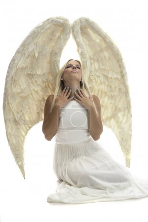 Photo for Beautiful young model with big angel wings sitting in the studio. white background - Royalty Free Image