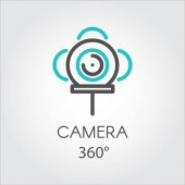 Color line icon new 3D technology view camera 360 degrees