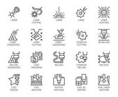 Set of 20 line icons in series of laser cutting Computer numerical controlled printer 3D milling machine and other thematic symbols Stroke mono contour pictograms isolated Vector outline labels