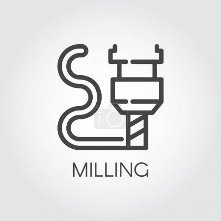 Milling machine outline icon. Modern device for fabrication and prototype production. Innovation technical equipment contour web label. Industrial theme. Vector illustration