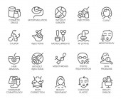 Set of 20 icons on cosmetology theme Labels isolated Beauty therapy medicine healthcare wellness treatment linear symbols Correction rejuvenation anti-aging procedure logo Vector graphic