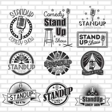 Illustration for Standup comedy show vector badges - Royalty Free Image