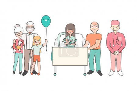 Woman in hospital with newborn baby. Vector illust...