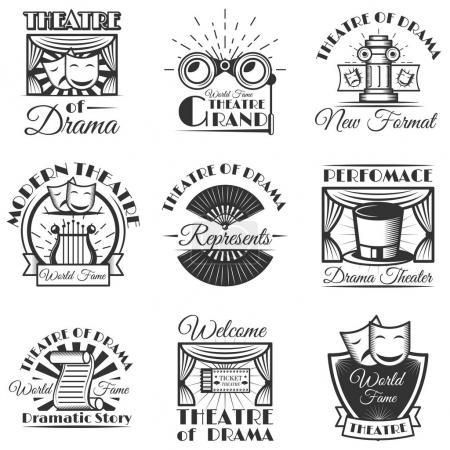 Vector set of classic theater isolated labels, logo and emblems. Black and white theater symbols and design elements.