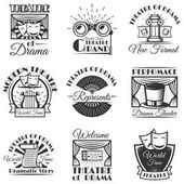 Vector set of classic theater isolated labels logo and emblems Black and white theater symbols and design elements