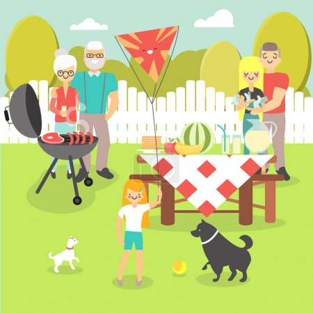 Family picnic vector illustration in flat style
