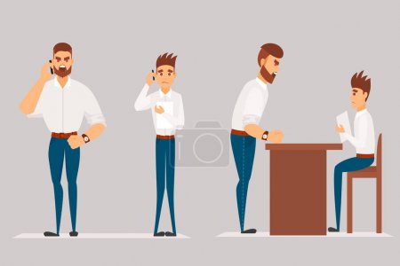 Illustration pour Dessin animé vectoriel Illustration de l'homme en colère gronde travailleur. Patron homme personnage crie sur travailleur . - image libre de droit