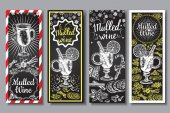 Hand drawn mulled wine vector banners set Black and white sketch posters with wine glass Menu cards design templates in retro vintage style