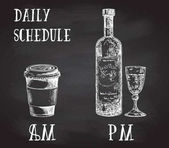 Vector concept poster with drinking habits Coffee at the morning and alcohol in the evening Hand drawn sketch on chalkboard Cup of coffee to go and bottle of wine with glass