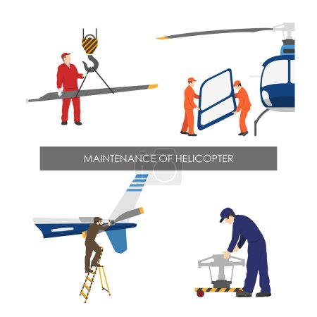 Repair and maintenance of helicopter . Set of helicopter parts i