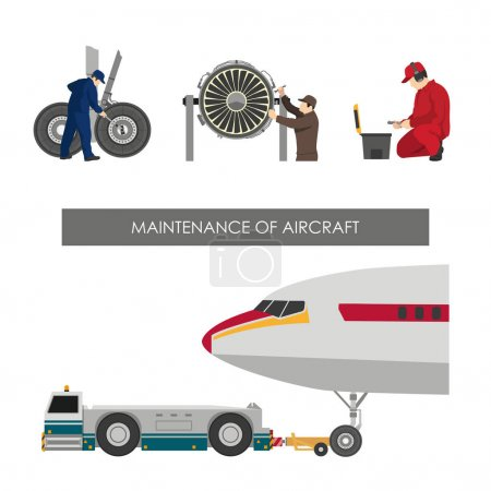 Repair and maintenance of aircraft. Set of images with engineers