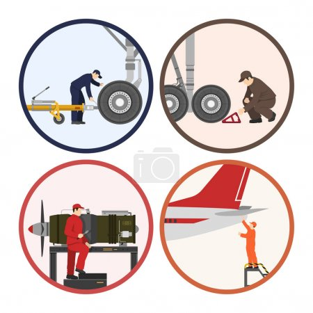 Repair and maintenance of aircraft. Image of workers near the ai